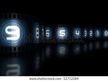 Wavy Film Strip Isolated On black Background - stock photo