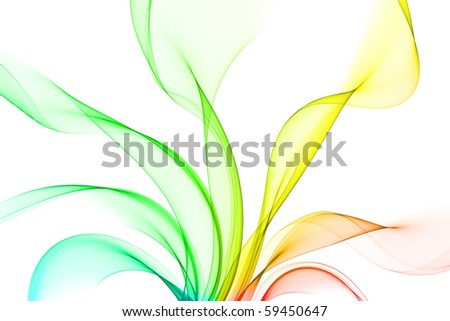 wavy fractal in rainbow colors on white - stock photo