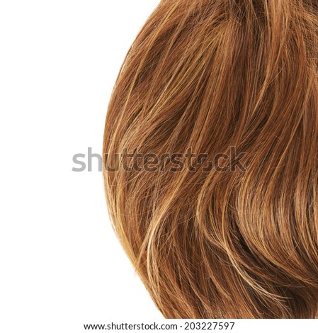 Wavy hair fragment placed over the white background as a copyspace backdrop composition