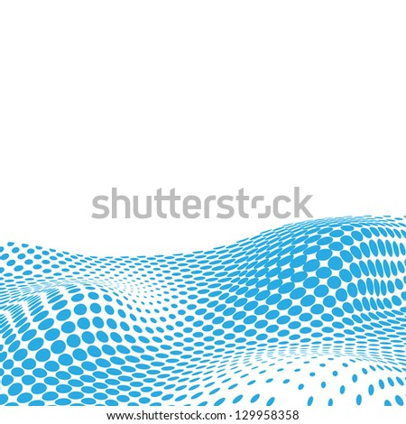 Wavy Halftone Background For Text. Raster Version - stock photo