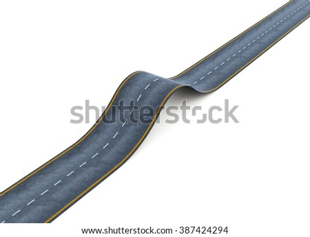 Wavy road isolated on white background. 3d rendering. - stock photo