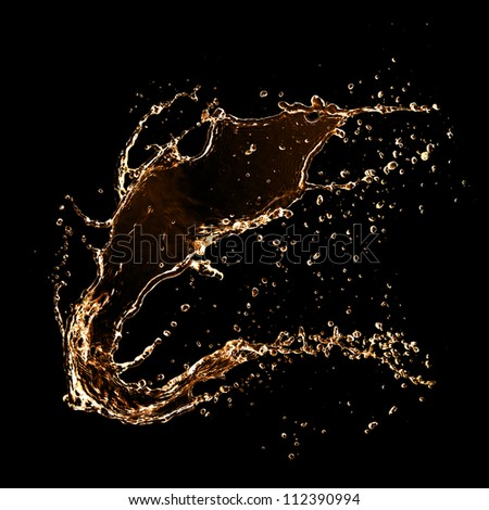Wavy splash, isolated on black background - stock photo