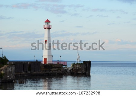 Wawatam Lighthouse in St. Ignace Michigan on Lake Huron - stock photo