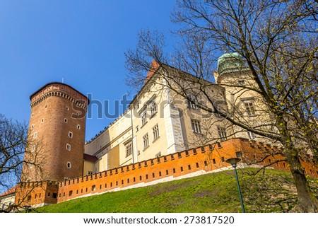 Wawel Castle at Wawel Hill in Krakow, Poland, Europe - stock photo