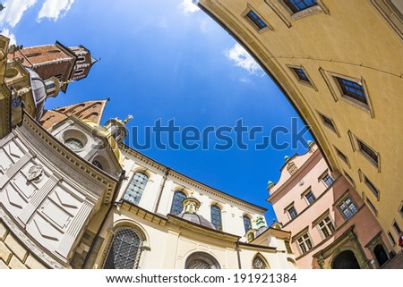 Wawel Castle complex in Krakow, Poland - stock photo