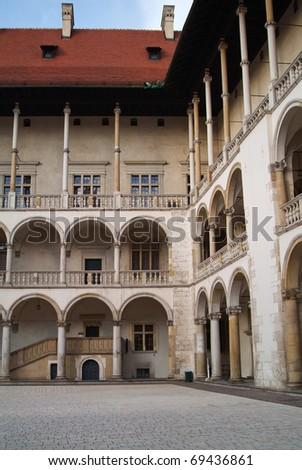 Wawel castle courtyard. - stock photo