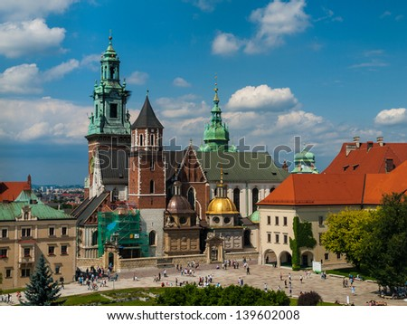 Wawel Castle in Krakow (Poland) - stock photo
