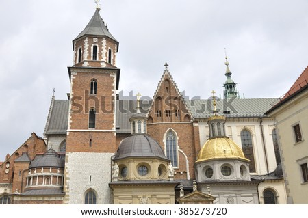 Wawel cathedral located in the Wawel Hill in Krakow, Poland