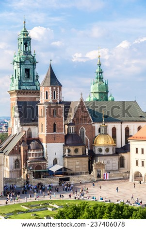 Wawel cathedral on Wawel Hill in Krakow, Poland - stock photo