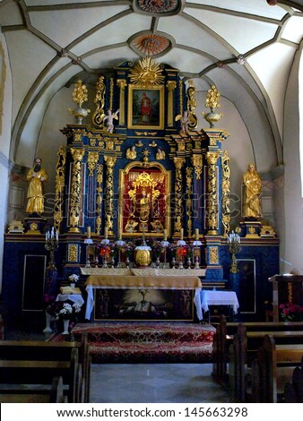 WAWOLNICA, POLAND - JUNE 19: Shrine of Our Lady of Keble. The interior of the chapel of the miraculous statue in Wawolnica, Poland June 19, 2013