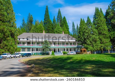 Wawona, Yosemite National Park - July 15th - The Wawona Hotel is one of the oldest mountain resort hotels in California built is 1876 containing 104 guest rooms. Taken on July 15th 2007. - stock photo