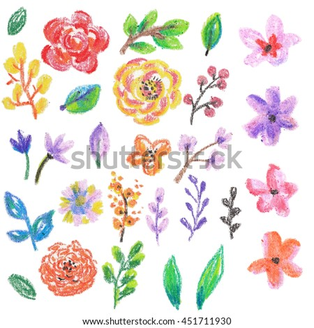 wax crayons floral collection, leaves and flowers for beautiful and bright design - stock photo