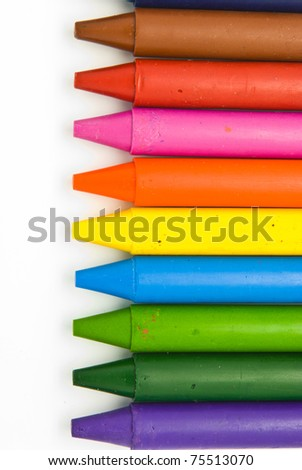 Wax crayons on white background - stock photo