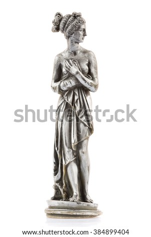 Wax figure of a classic nude greek goddess isolated on a white background - stock photo