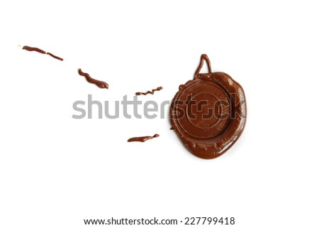 Wax red seal on white background