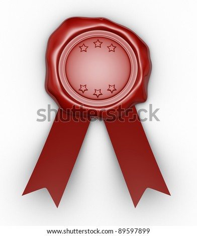 Wax seal  and  ribbon. This is a 3d render illustration - stock photo