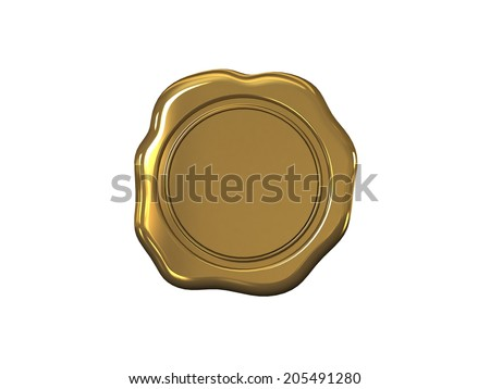 Wax seal on a white background - stock photo