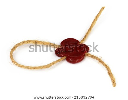Wax seal on rope knot over white background - stock photo