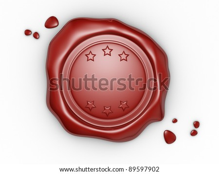 Wax seal with blank field. 3d render illustration
