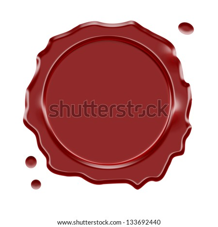 Wax seal with central blank space for copy, adv or logo isolated on white background.
