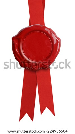 Wax seal with red ribbon isolated on white - stock photo