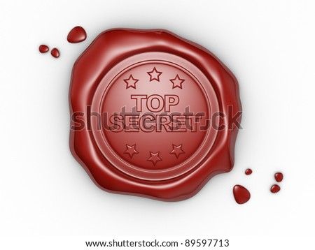 Wax seal with small stars and the word Top Secret. 3d render illustration