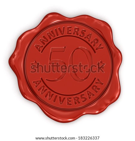 Wax Stamp anniversary 50th (clipping path included)