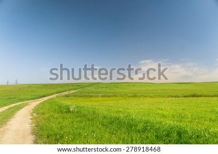 Way Ahead Fields of Sunlight  - stock photo