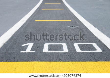Way for one hundred completed. - stock photo