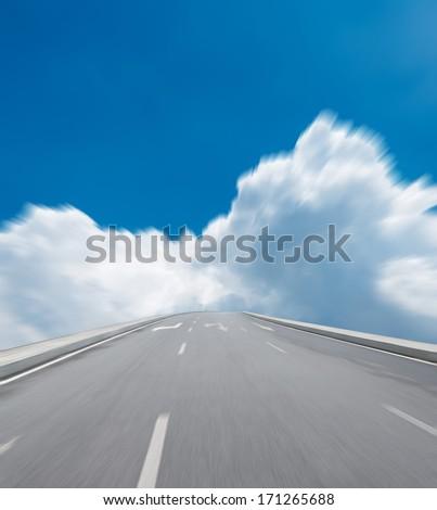 Way high way blue sky to Travel Destination journey - stock photo
