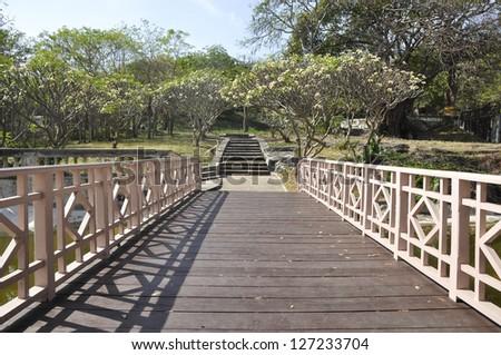 Way Long Bridge Wood Garden Park - stock photo