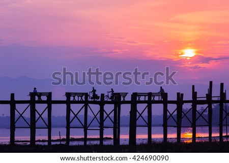 Way of life at U-bein bridge in the morning. Location of Mandalay, Myanmar.
