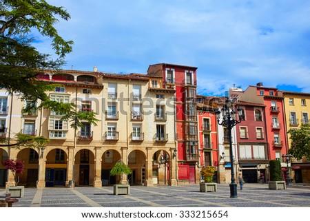 Way of Saint James Logrono Arcades in Mercado Plaza square La Rioja - stock photo