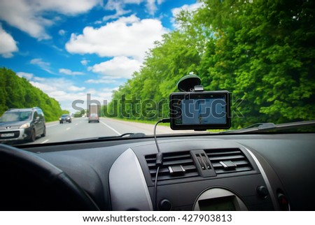 Way Road by Navigator Beautiful Summer Landscape View From Car Travel Scene Adventures Concept