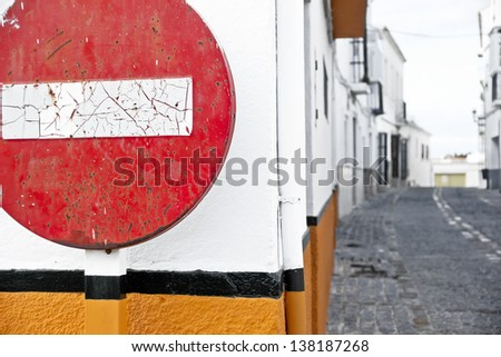 Way street, old no entry signs, symbolic photo for traffic regulations, direction, clarity - stock photo