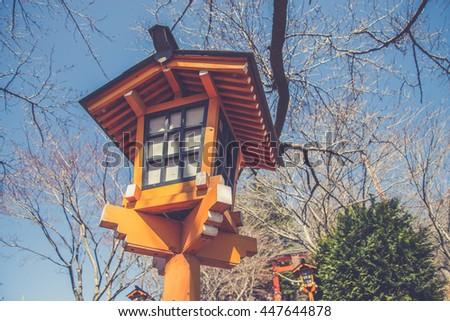 Way to Chureito Pagoda in Winter, Fujiyoshida, Japan (Vintage filter effect used) - stock photo