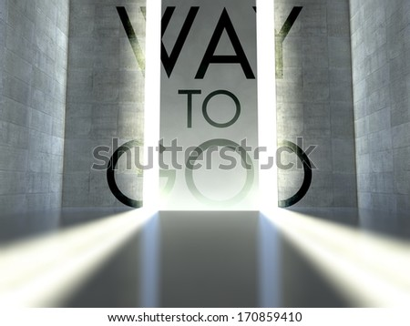 Way to god slogan on wall in modern interior, concept of faith - stock photo