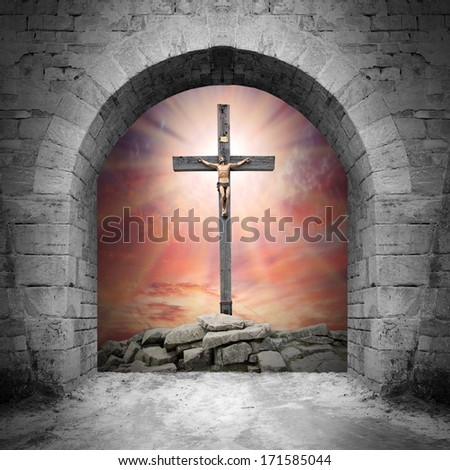 Way to Golgotha. Easter background. - stock photo