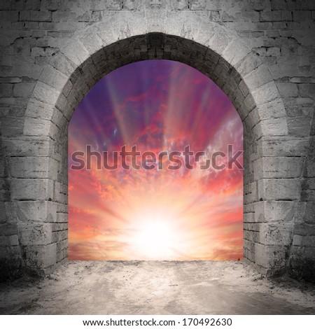 Way to heaven. Resurrection concept, empty grave. - stock photo