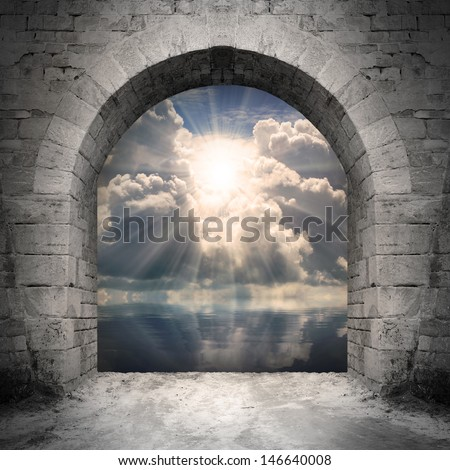 Way to new world. New life concept - light over water. - stock photo