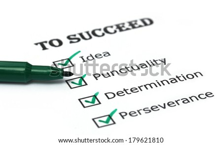 Way to success checklist on white paper