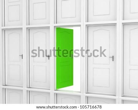 Way to success. Different door - stock photo