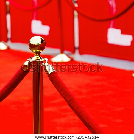 Way to success on the red carpet (Barrier rope)  - stock photo
