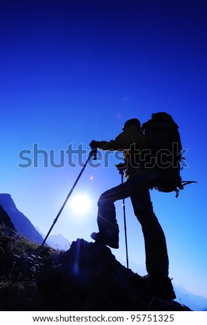 way to the peak - stock photo