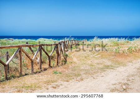 Way to the sea. Beautiful wild beach, Malia, Crete island, Greece. Selective focus - stock photo