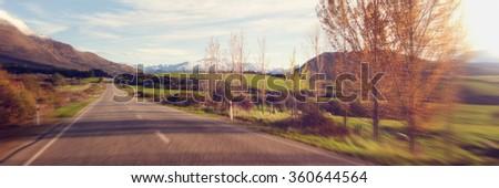 Way Tranquil Scene Roadway Destination Concept - stock photo