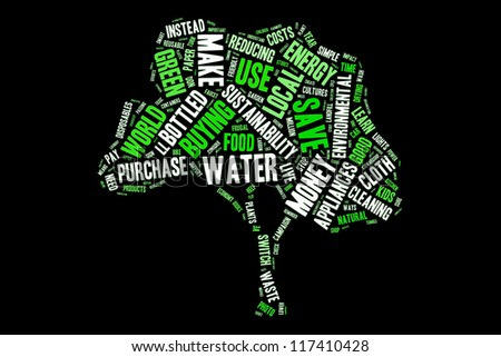 Ways to green the earth in word collage - stock photo