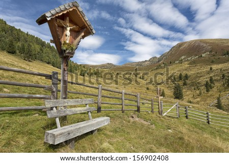 Wayside shrine in the mountains, Northern Italy - stock photo