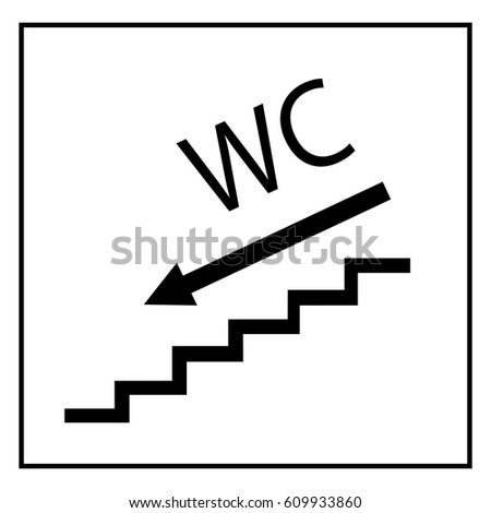 Bathroom Signs With Arrows wc icon arrow right blue square stock illustration 608634803