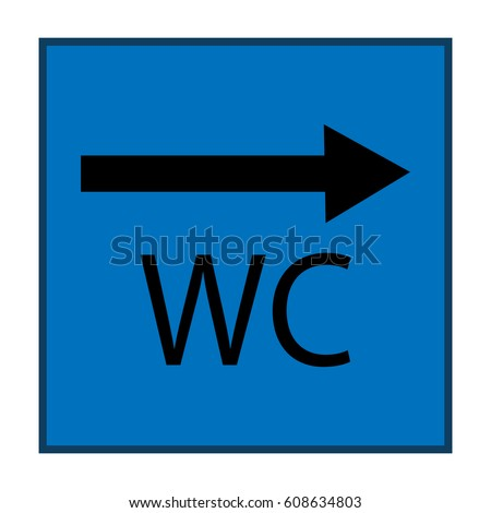 WC Icon And Arrow Right In Blue Square On White Background Sign Restroom Women